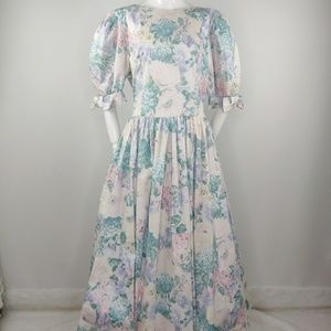 Vintage 1980s Pastel Floral Backless Bow Dress L